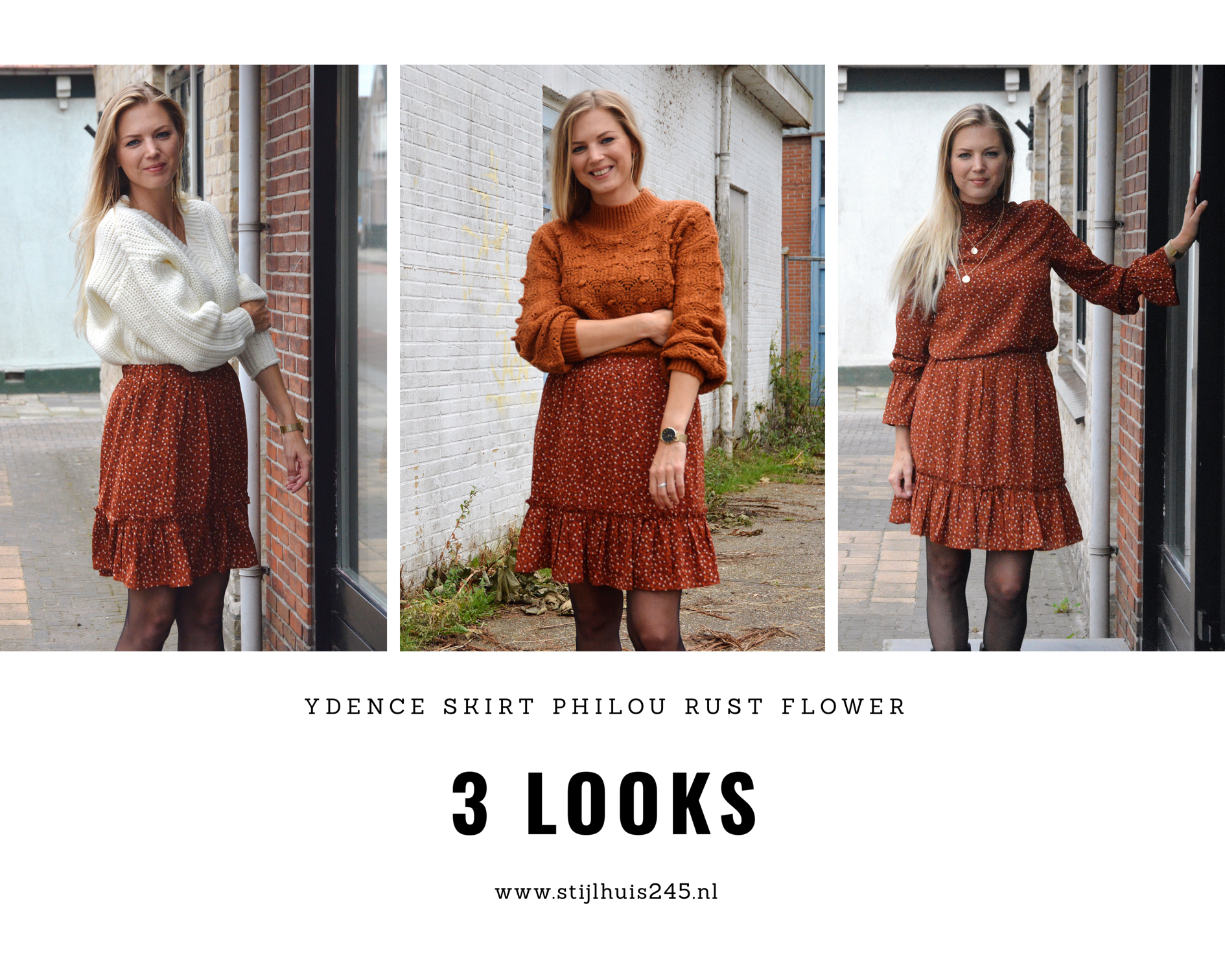 3 outfits met de ydence skirt philou rust gecombineerd met de knit mae, top quinn en sweater yana off white