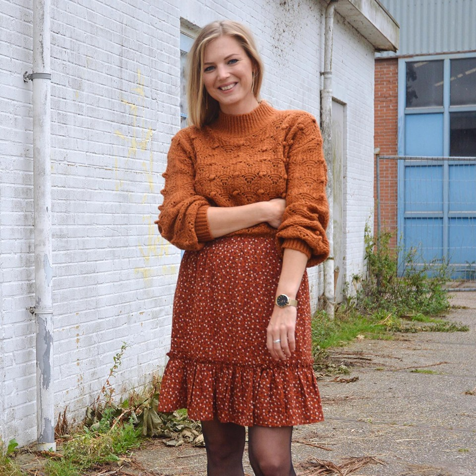 OOTD | Ydence knit Mae & Ydence skirt philou rust