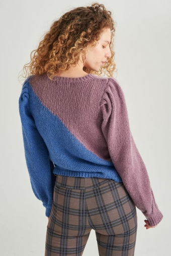 24Colours Knitted Sweater Blauw/Lila