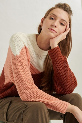 24 Colours Knitted Sweater Rust/Pink