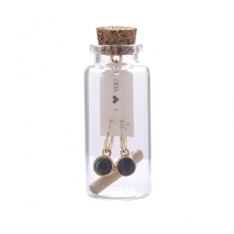 Oorbellen Message in a bottle - Gold with Black stone