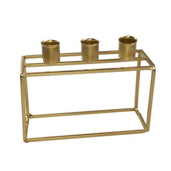 HOUSEVITAMIN Candle Holder Gold Block 3 candles