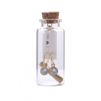 Oorbellen Message in a bottle - Gold with crystal stone