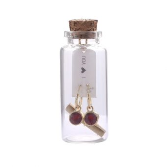 Oorbellen Message in a bottle - Gold with Red stone