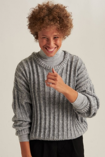 24Colours Oversized Knitted Sweater Gray