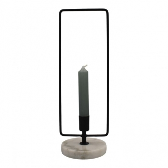 Housevitamin Marble Candle Holder Black 11x10x30