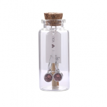 Oorbellen Message in a bottle - Silver with pink stone