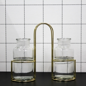HOUSEVITAMIN Twin Vases in Metal Holder Gold